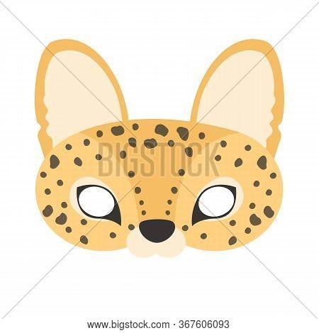 Illustration Of Carnival Mask Animals Africa Serval. Eye Mask For Masquerade, Children's Party. For