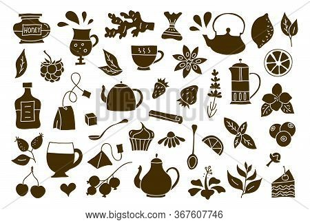 A Set Of Elements On The Tea Theme. Vector Silhouettes And Stencils.
