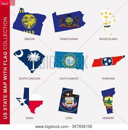 Us State Maps With Flag Collection, Nine Usa Map Contour With Flag Of Oregon, Pennsylvania, Rhode Is