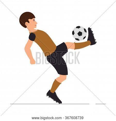 Teenager Guy Plays Football, Soccer Player, Man Kicks A Soccer Ball Vector Illustration In Cartoon S