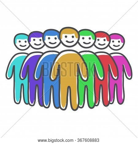 Team Of People Led By A Leader Icon, Group Of People Vector Doodle Illustration.