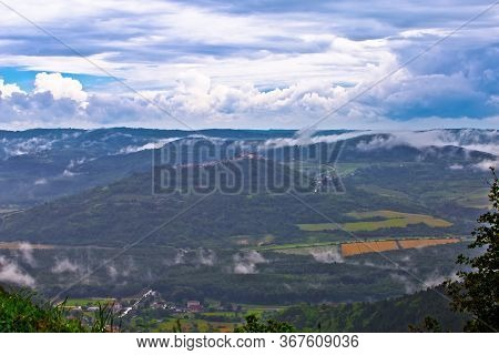 Istra. Green Lanscape Of Istria And Hill Town Of Motovun Fog View, Scenic Destination Of Croatia