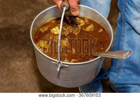 Ready To Serve Nepalese Indian Style Mutton Curry With Gravy And With Spoon.nepali Style Mutton Curr