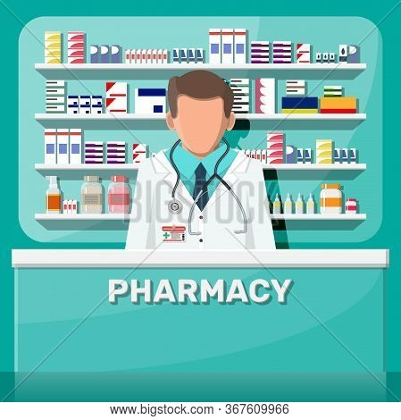 Modern Interior Of Pharmacy And Male Pharmacist. Medicine Pills Capsules Bottles Vitamins And Tablet
