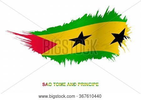 Flag Of Sao Tome And Principe In Grunge Style With Waving Effect, Vector Grunge Brush Stroke Flag.