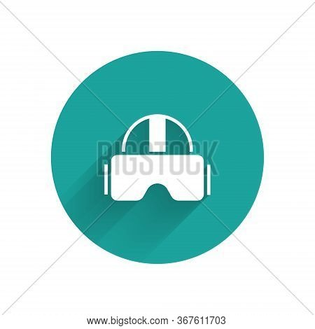 White Virtual Reality Glasses Icon Isolated With Long Shadow. Stereoscopic 3d Vr Mask. Green Circle
