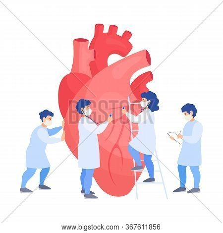 A Group Of Doctors Listens To The Heart. Examination, Diagnosis And Treatment Of Cardiovascular Dise