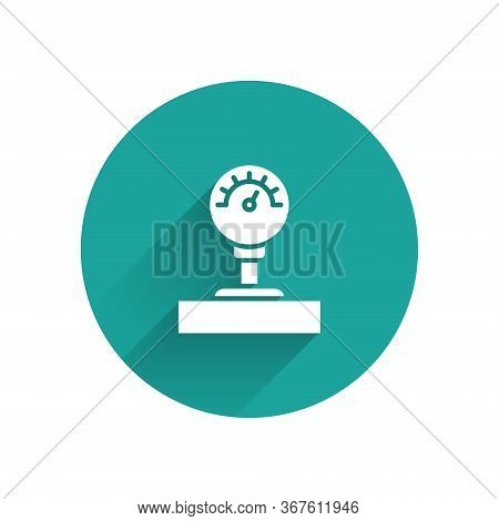 White Gauge Scale Icon Isolated With Long Shadow. Satisfaction, Temperature, Manometer, Risk, Rating