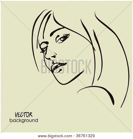 art sketching vector dour girl face  symbols