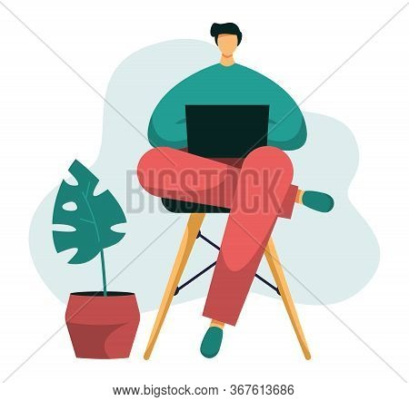Flat Vector Illustration Of A Freelancer Typing On His Notebook. Young Male Working From Home Office