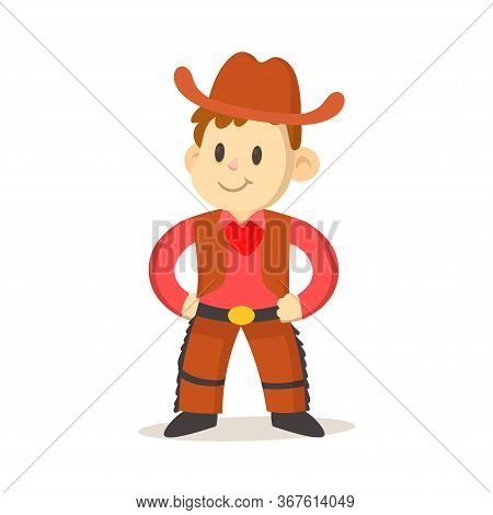 Cartoon Cowboy Kid Wearing Vest And Hat. Flat Vector Illustration, Isolated On White Background.
