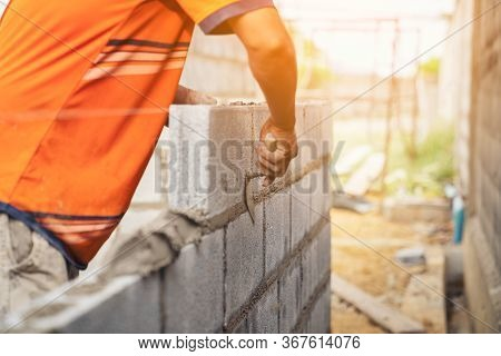 Worker Building Wall Bricks With Cement Local Thailand