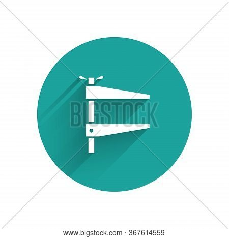 White Clamp Tool Icon Isolated With Long Shadow. Locksmith Tool. Green Circle Button. Vector