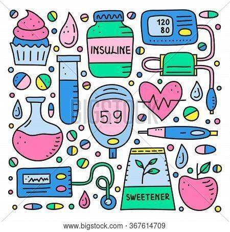 Set Of Doodle Colored Diabetes Items, Including Insulin Pen, Pump, Tonometer, Blood Drop, Glucometer