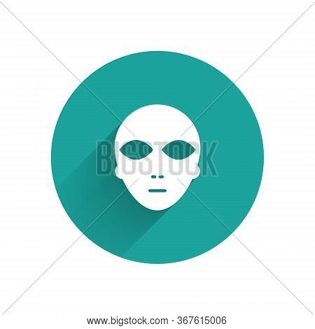 White Alien Icon Isolated With Long Shadow. Extraterrestrial Alien Face Or Head Symbol. Green Circle