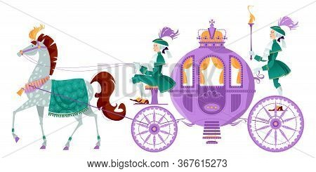 Princess Fantasy Carriage With Coachman And A Horse.  Vector Illustration