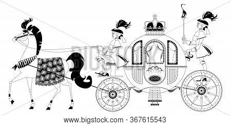 Princess Fantasy Carriage With Coachman And A Horse. Black And White. Vector Illustration