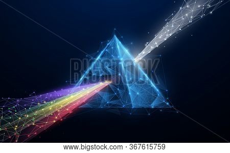 Prism Light Spectrum. 3d Triangle Shape From Lines, Triangles, Particle, Low Poly And Wireframe Desi