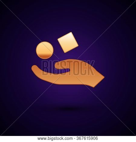 Gold Cube Levitating Above Hand Icon Isolated On Black Background. Levitation Symbol. Vector