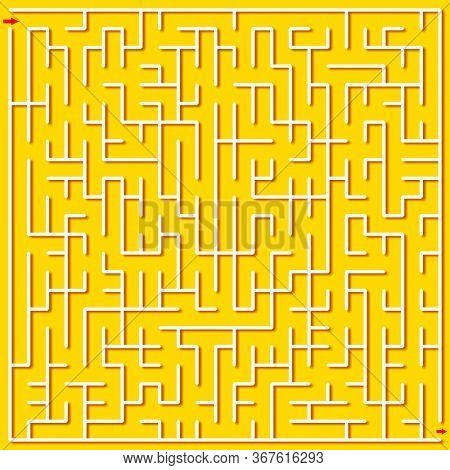 Square maze puzzle on yellow background