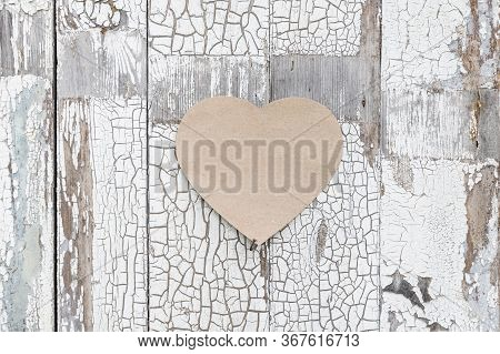 Paper Heart On A Rustic Wall, Door As A Symbol Of Love, Affection For Mother's Day, Valentine's Day,