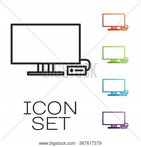 Black Line Smart Tv Icon Isolated On White Background. Television Sign. Set Icons Colorful. Vector