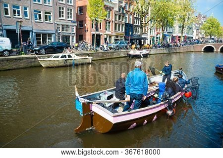 Amsterdam, The Netherlands - April 20, 2017: Stop Plastic Pollution Concept, Outdoor Campaign With A
