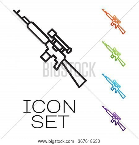 Black Line Sniper Rifle With Scope Icon Isolated On White Background. Set Icons Colorful. Vector