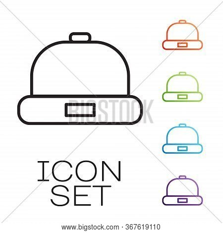Black Line Beanie Hat Icon Isolated On White Background. Set Icons Colorful. Vector