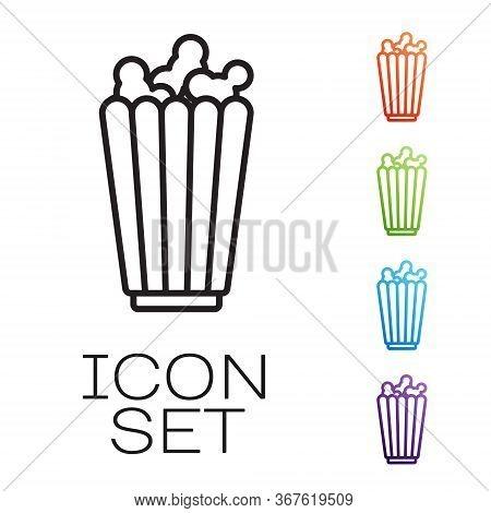 Black Line Popcorn In Cardboard Box Icon Isolated On White Background. Popcorn Bucket Box. Set Icons
