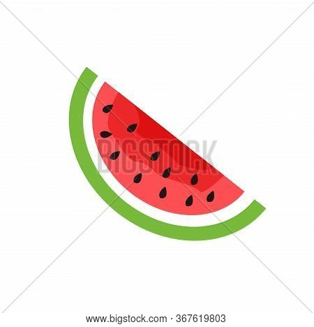 Vector Slice Watermelon Flat Icon. Fruit Illustration. Healthy Food Design. Vector Illustration Red
