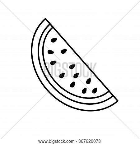 Vector Slice Watermelon Line Icon. Fruit Illustration. Healthy Food Design. Vector Illustration Red