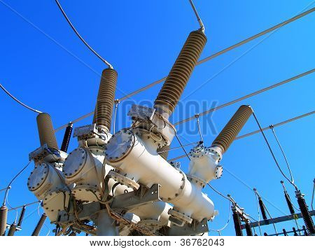 High voltage outdoor electrical substation with transformers poster