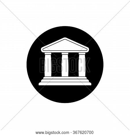 University Theater Museum Icon. Classical Greece Roman Architecture Sign On Isolated White Backgroun