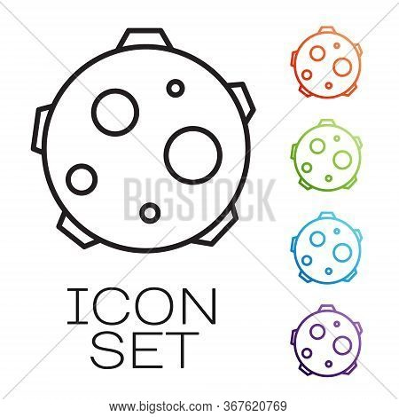 Black Line Ufo Abducts Cow Icon Isolated On White Background. Flying Saucer. Alien Space Ship. Futur