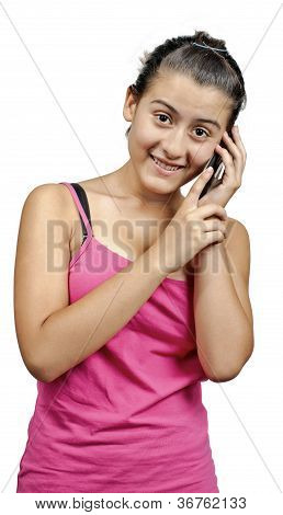 A Girl Talking To A Phone