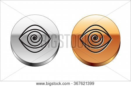 Black Line Hypnosis Icon Isolated On White Background. Human Eye With Spiral Hypnotic Iris. Silver-g