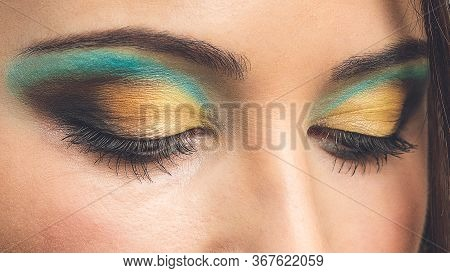 Closeup Of Beautiful Woman Eye With Makeup, Closed Eyes. Modern Fashion Make Up. Eye Makeup Woman Ap