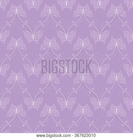 Linear Butterflies Seamless Vector Lilac Pattern. Decorative Delicate Surface Print Design. For Girl