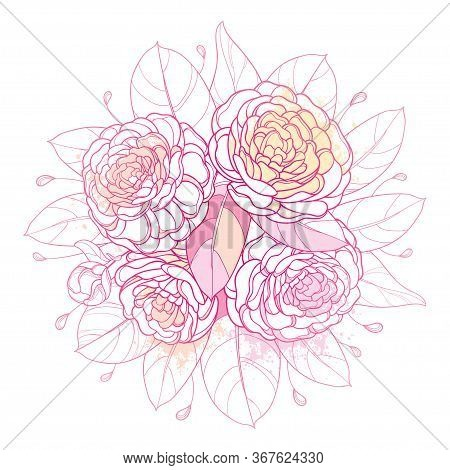 Vector Round Bouquet With Outline Camellia Flower Bunch, Bud And Leaf In Pastel Pink Isolated On Whi