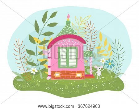 Childrens Vector Illustration Of A Fabulous Little Mouse House, Flower Meadow.