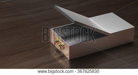 Safe Bank Deposit Drawer Open Empty On Wooden Background. 3D Illustration