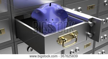 Safe Bank Deposit Box For Storing Safely Savings. 3D Illustration