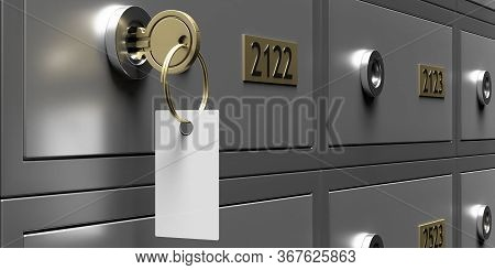 Safe Bank Deposit Box With Blank Key Tag, Copy Space. 3D Illustration