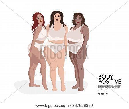 Plus Size Model Friends, Girls Support Girls, Girls Gang. Curves, Body Positive Diverse Woman Illust