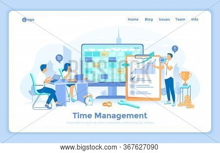 Time Management, Planning Schedule. Organization Of Working Time. A Business Team Distributed Priori