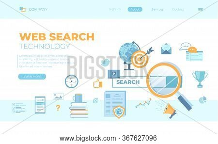 Web Search Technology, Search Engine, Seo, Data Finding. Search Bar With Result Elements. Can Use Fo