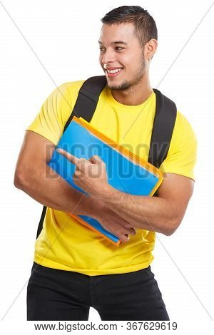 Student Showing Pointing Marketing Ad Advert Young Man People Isolated On White