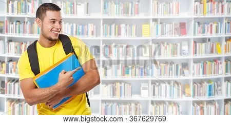 Student Showing Pointing Marketing Ad Advert Library Learning Banner Copyspace Copy Space Young Man