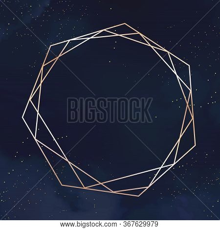 Magic Night Dark Blue Card With Sparkling Glitter And Line Art Crystal. Diamond Shaped Vector Weddin